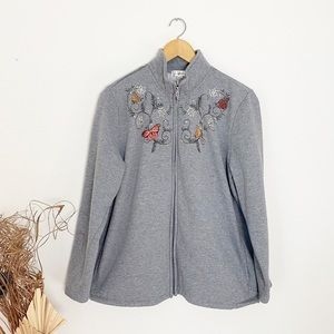 Tradition | Gray Rhinestone Butterfly Zip Up | XL